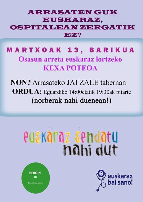 Osasun arreta euskaraz jaso ahal izateko, 'kexa-poteoa' hilaren 13an Arrasaten