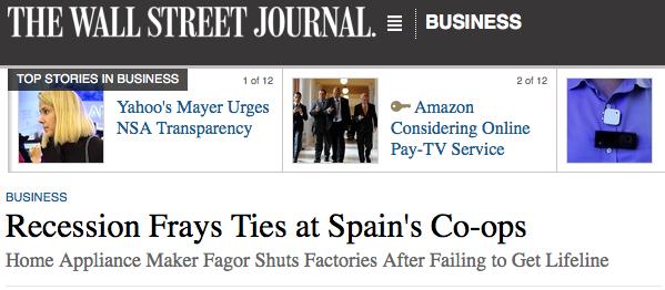 Fagor Etxetresnen kasua, 'Wall Street Journal'-en
