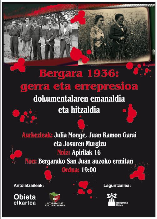 1936ko gerran Bergaran bizi izandakoak izango dituzte berbetagai San Juan auzoan, eguenean