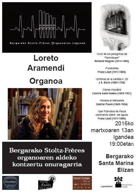 Loreto Aramendi organo jolea igandean