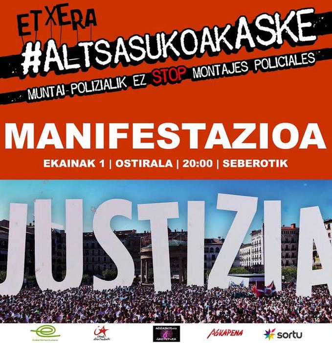 Manifestazioa, gaur, Altsasuko gazteen epaiaren aurka