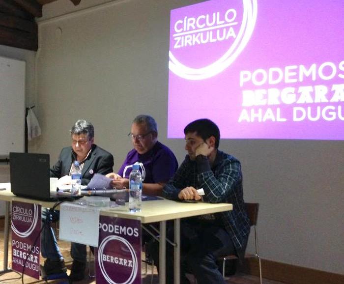 Ahal Dugu-Podemosen ekitaldi politikoa zapatuan Bergaran