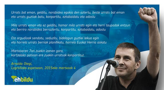 """Arnaldo Otegi: """"Martxoaren 7an zuekin izanen gara, kartzelako patioan ere zuekin urratsak konpartituz"""""""