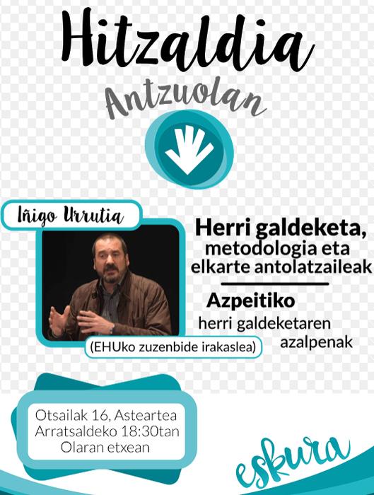 Iñigo Urrutia EHUko Zuzenbide irakasleak herri galdeketen metodologiaz jardungo du bihar