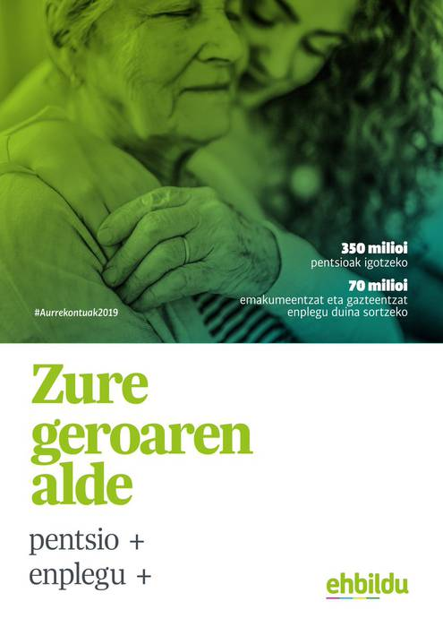 EAEko Aurrekontuak 2019: Zure geroaren alde! Kalitatezko enplegu eta pentsio duinen alde