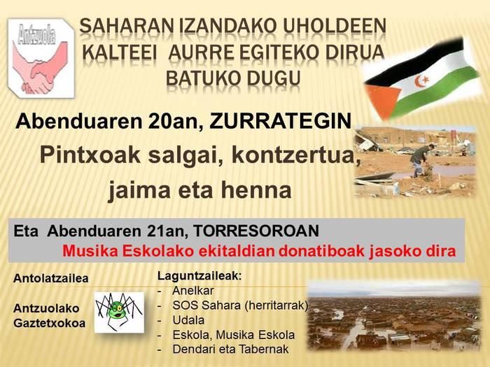 Saharako uholdeak direla eta, Antzuolan kanpaina berezia martxan