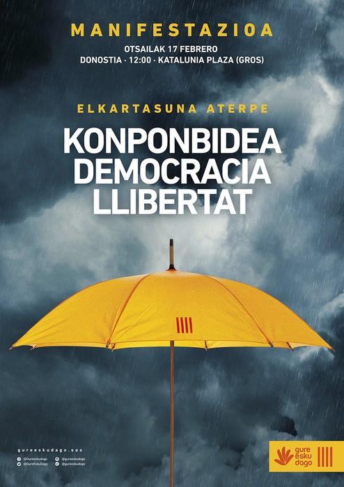 Demokraziaren eta askatasunaren defentsan, EH Bilduko kideok Donostiako kaleetara aterako gara igandean