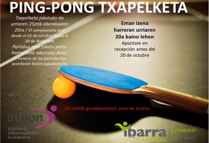 Ping-pong txapelketa antolatu dute urriaren 25etik abenduaren 20ra bitartean jokatzeko