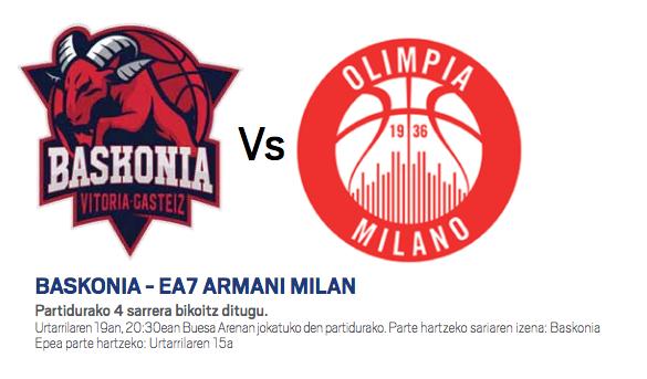 Baskonia-Armani Milano partidurako sarrerak