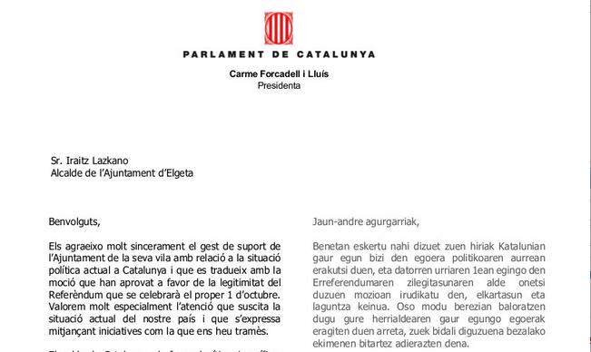 Adierazitako babesa eskertzeko gutuna jaso du Elgetako Udalak Kataluniatik