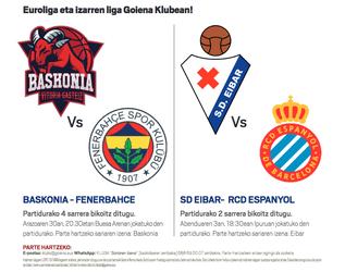 Baskonia-Fenerbahce eta Eibar-Espanyol ikusteko aukera
