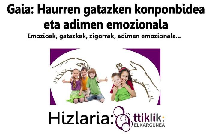 """""""Haurren gatazken konponbidea eta adimen emozionala"""" hitzaldia, urtarrilaren 19an"""