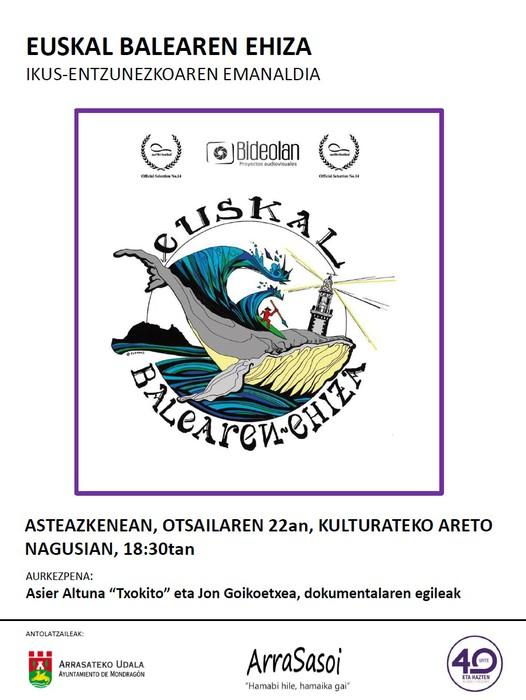 Surfaren gaineko 'Euskal Balearen Ehiza' dokumentala eguaztenean