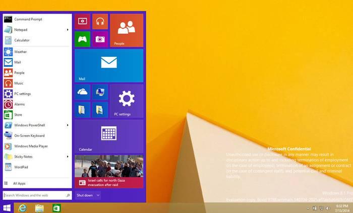 Irudien arabera, Windows 9-arekin 'Hasiera' botoia itzuliko da