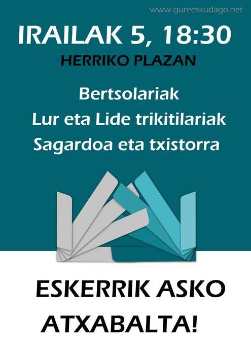 Ekitaldia iragarri du irailaren 5erako Aretxabaletako Gure Esku Dagok