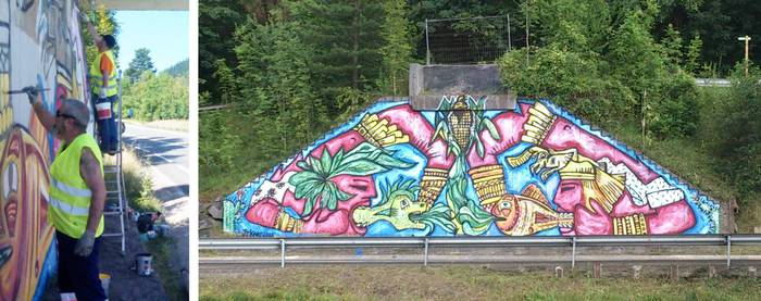 Aste zapatistakoek murala egin dute