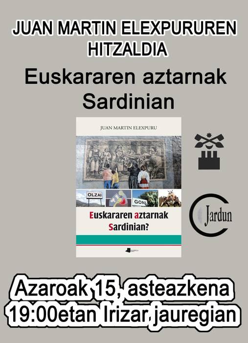 """""""Euskararen aztarnak Sardinian"""" liburuaren aurkezpena"""