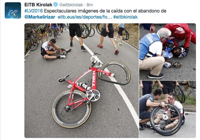 Markel Irizarrek Vuelta utzi du, eroriko baten ondorioz