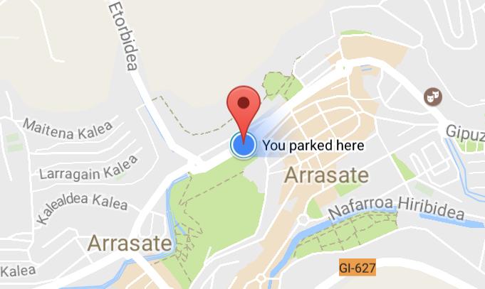 Autoa aparkatu den tokia gogorarazteko aukera, Google maps-en funtzio berrien artean