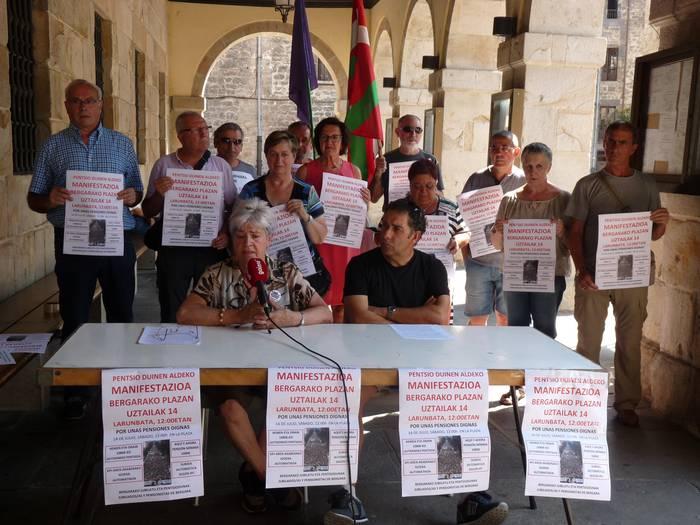 """Pentsio """"duinak"""" aldarrikatzeko manifestazioa egingo dute zapatu eguerdian Bergaran"""
