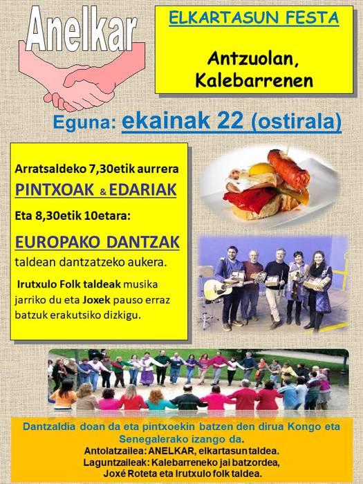 Kalebarrengo jaietan elkartasun festa eta Europako dantzak ezagutzeko aukera