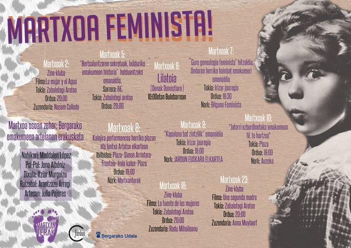 Martxorako hainbat ekimen feminista antolatu dituzte Bergaran