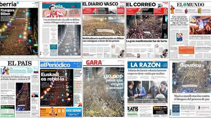 Horrela jaso dute manifestazioa egunkarietan