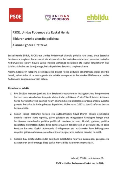 EH Bilduk akordioa egin du PSOE eta Unidas Podemosekin Lan Erreforma indargabetu eta tokiko erakundeen gastu gaitasuna handitzeko
