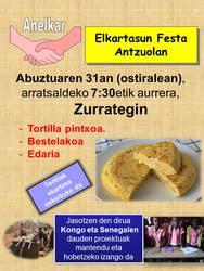 Abuztuaren 31n (ostirala) Elkartasun Festa 7,30etik aurrera Antzuolan