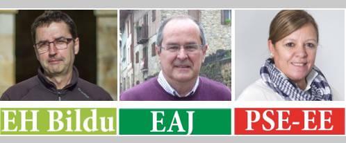 Hiru zerrenda aukeratzeko: EH Bildu, EAJ eta PSE-EE