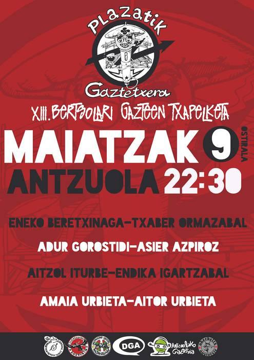 Antzuolan abiatuko da XII. Plazatik Gaztetxera Bertso Txapelketa