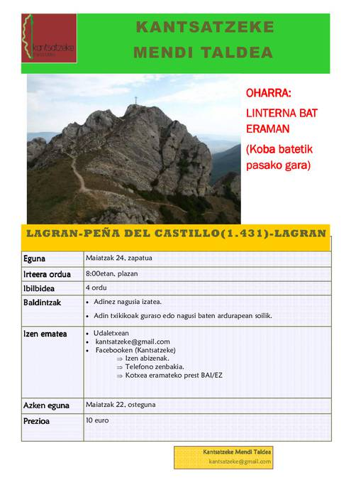 Peña del Castillora irteera
