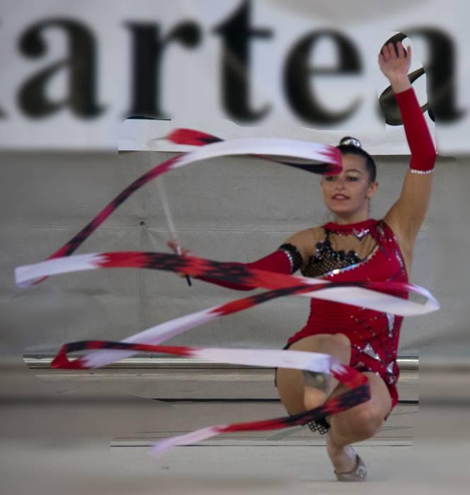Gipuzkoa osoko gimnasia erritmikoko taldeak Labegaraietako kiroldegian, otsailaren 8an