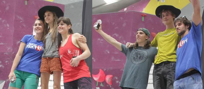Mikel Linazisoro eta Muriel Ruiz de Larramendi Euskal Herriko Boulder txapeldunak