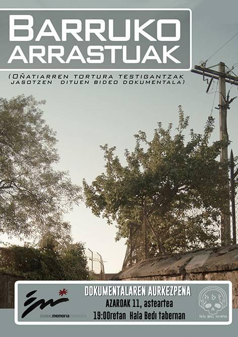 'Barruko arrastuak' dokumentalaren emanaldia, Gasteizen