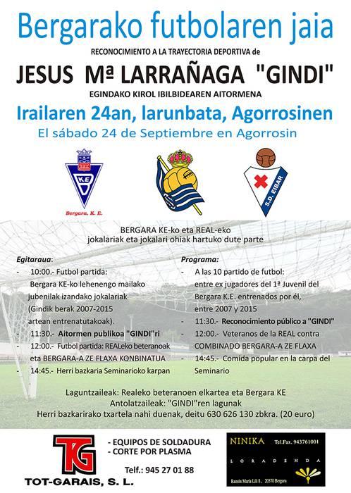 Jesus Mari Larrañaga 'Gindi' omenduko dute irailaren 24an
