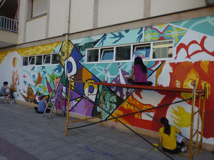 Hirugarren murala Kurtzebarri eskolaren eraikinean