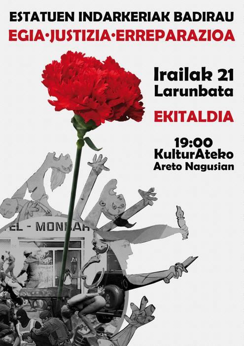 """""""Egia, justizia eta erreparazioa"""" aldarrikatzeko ekitaldia egingo du Arrasateko ezker abertzaleak hilaren 21ean"""