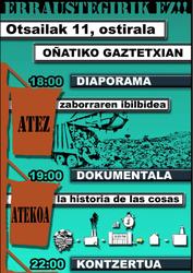 Oñati Zer0 Zabor taldeak diaporama emanaldia eta dokumentala izango dira ikusgai