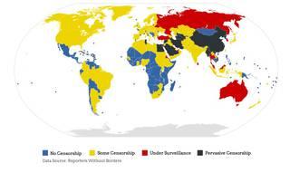 Interneteko zentsuraren koloreen mapa