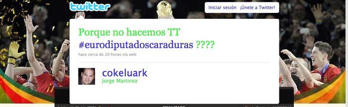 Eurodiputatuak asaldatuta '#eurodiputadoscaraduras' etiketarekin