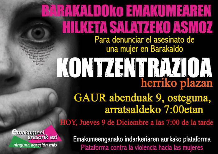 Barakaldoko hilketaren aurrean, elkarretaratzea gaur Herriko plazan