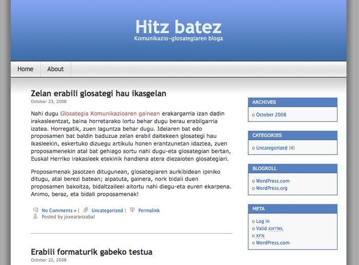 Blog bat, komunikazioaren gaineko glosategiaren osagarri
