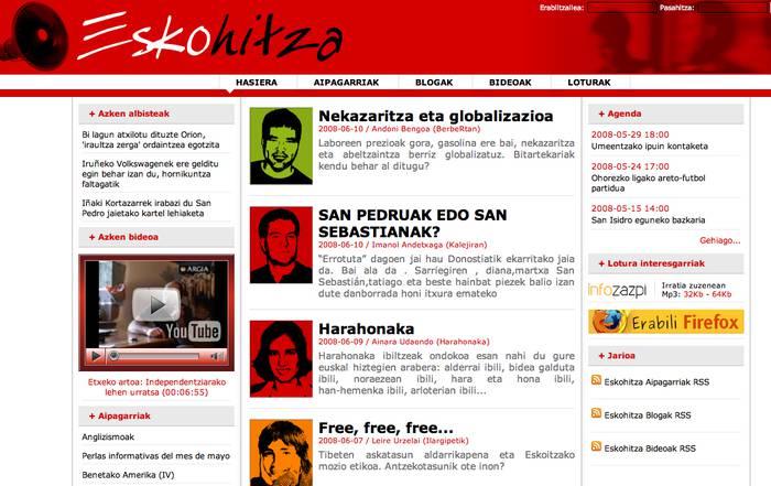 'Eskohitza.com' sarean dago