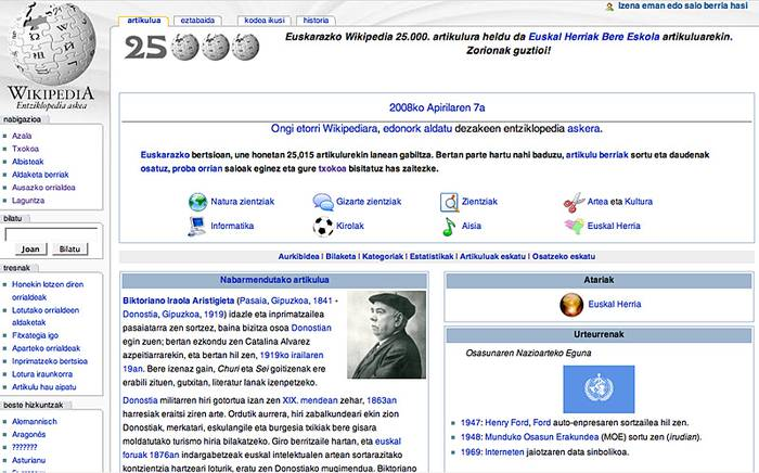 Euskarazko Wikipediak 25.000 artikulu
