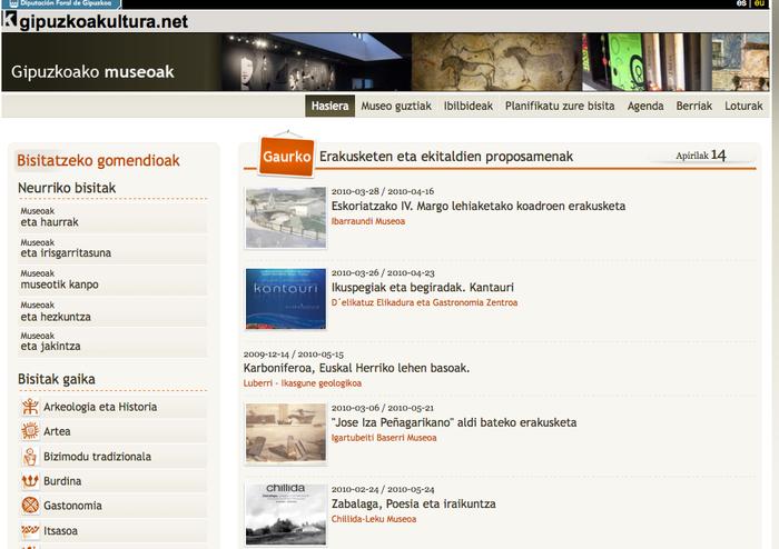 Gipuzkoako museoen webgunea martxan dago