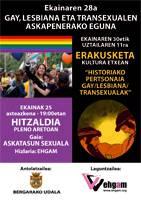 Hitzaldia eta zine emanaldia gay, lesbiana eta transexualen askapenerako egunean