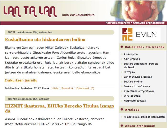 LanTaLan webgunea; lan munduan euskara indartzeko tresna berria