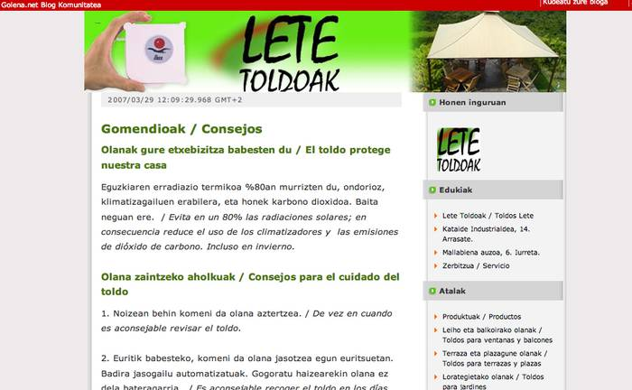 Lete Toldoak-ek bloga du Goiena.net-en