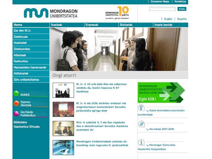 Mondragon.edu, unibertsitate webgune onenen artean